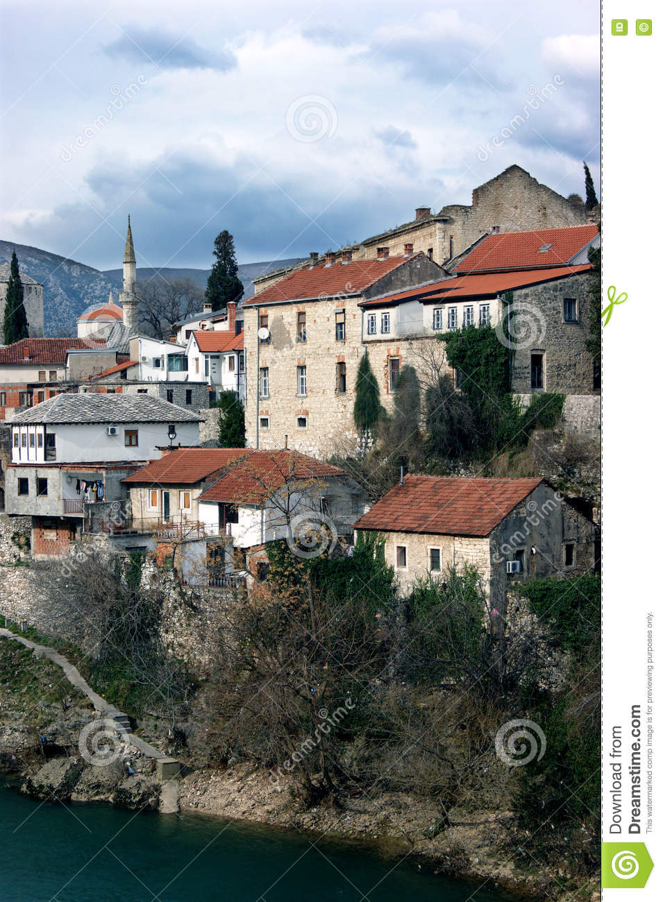 View of the left bank of the historic quarter in Mostar