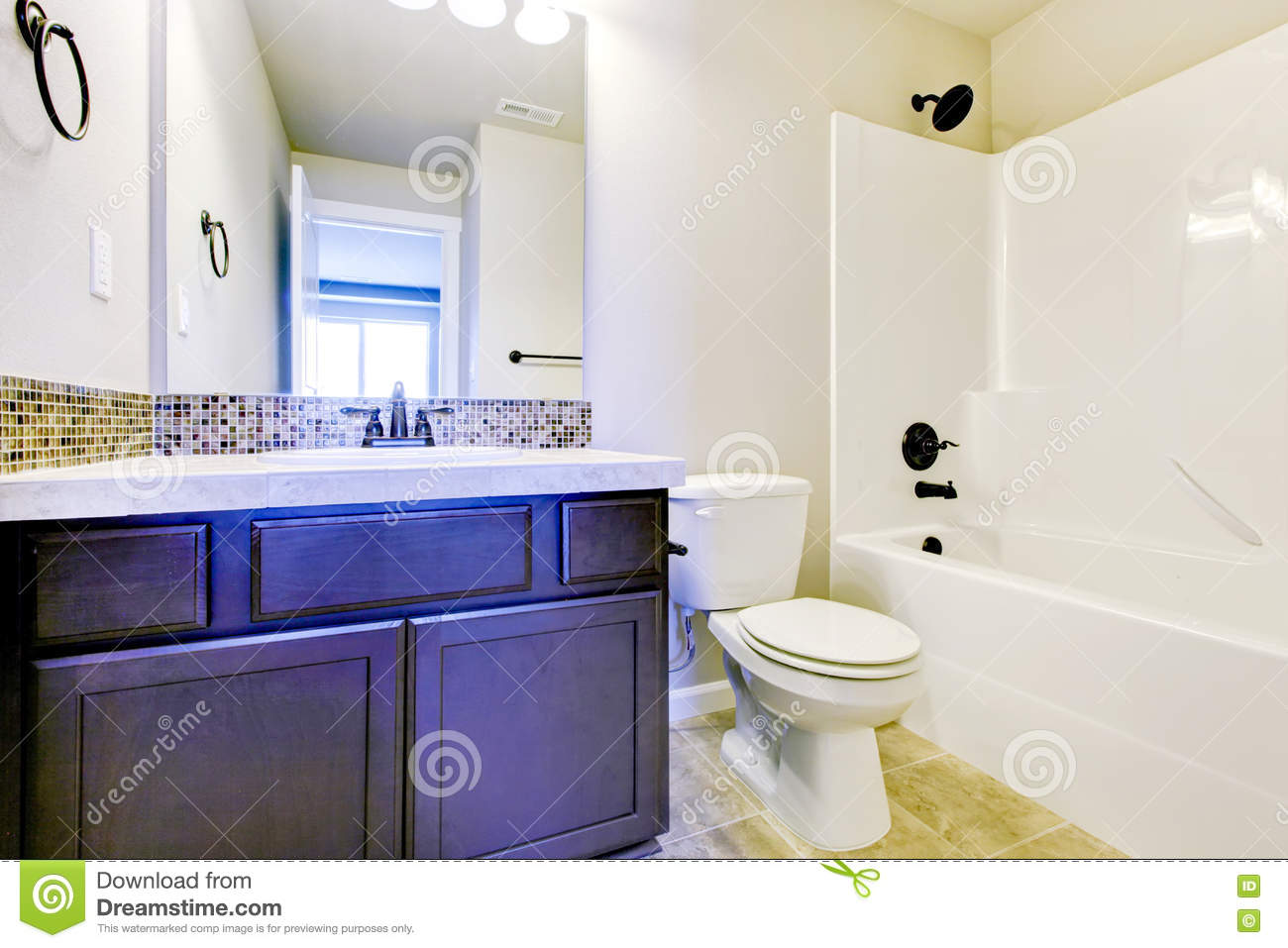 View Of Light Tones Bathroom With Wooden Blue Vanity Cabinet Stock Image Image Of Project