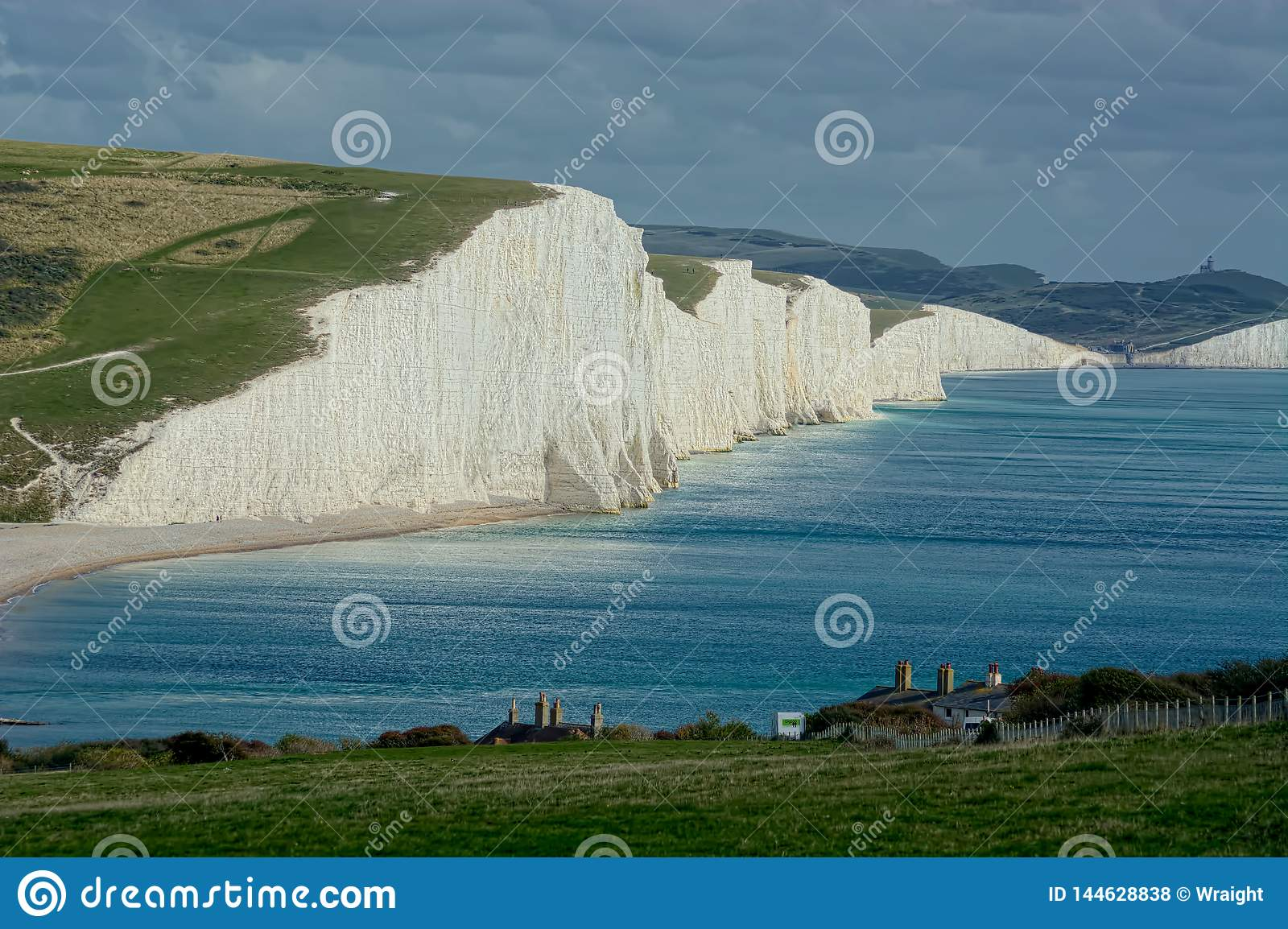 View of Seven Sisters chalk cliffs, Sussex UK