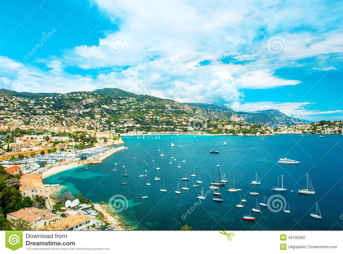 view of luxury resort and bay of cote d 39 azur french riviera stock photo image of seascape. Black Bedroom Furniture Sets. Home Design Ideas