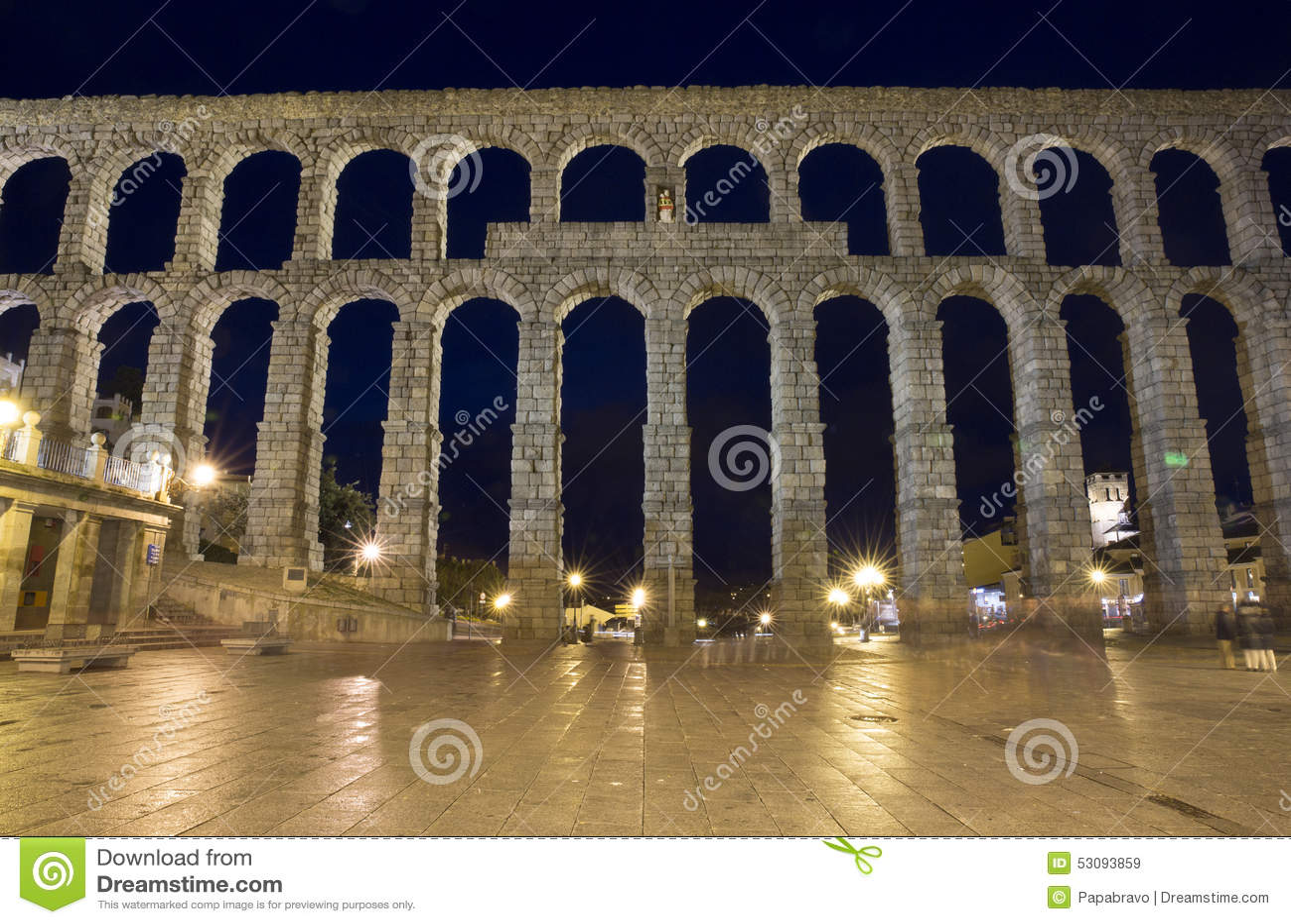 View of main square and roman aqueduct Segovia Spain