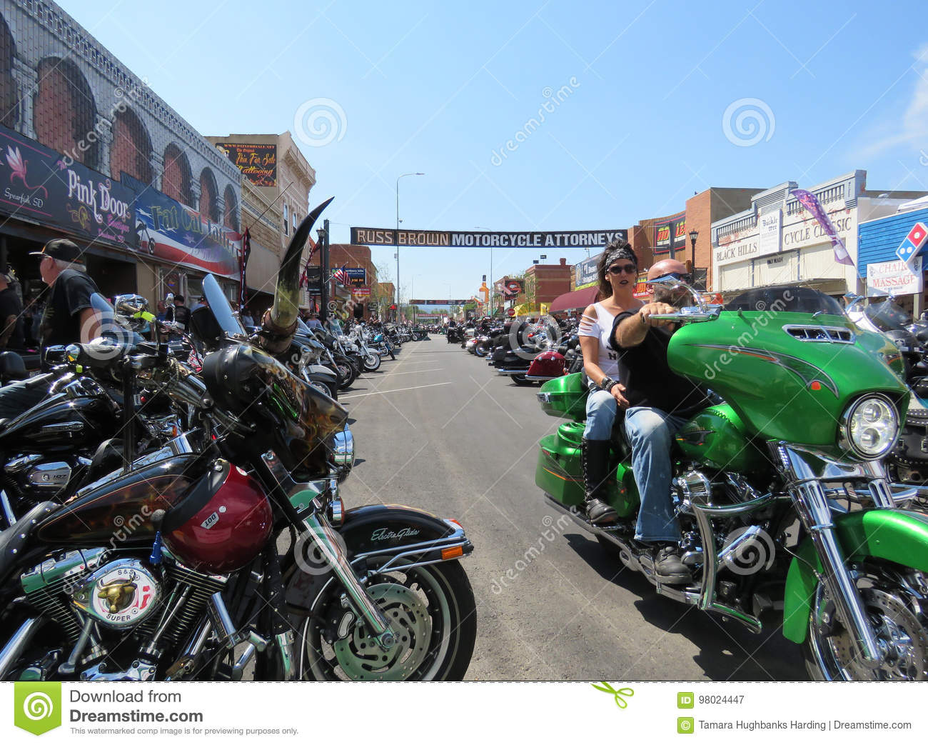 View of Main Street during 77th Motorcycle Rally, downtown Sturgis, SD