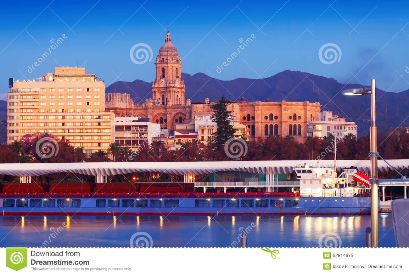 view of malaga from port stock photo image 52814675. Black Bedroom Furniture Sets. Home Design Ideas