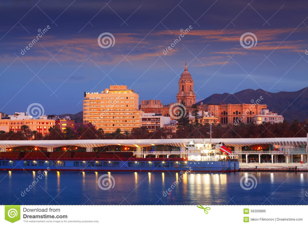 view of malaga from port stock photo image 56309886. Black Bedroom Furniture Sets. Home Design Ideas