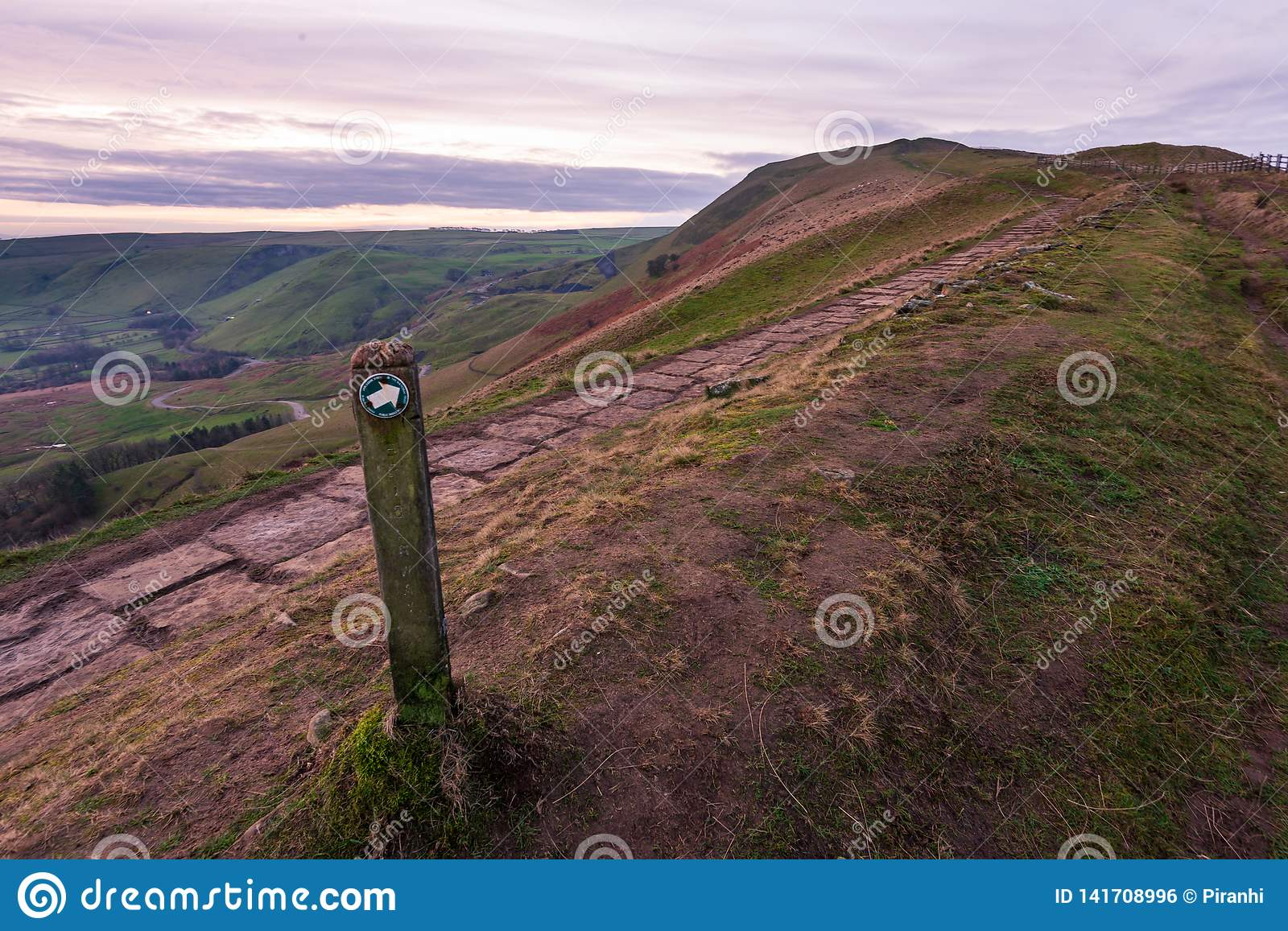 A view of Mam Tor in the Peak District early morning