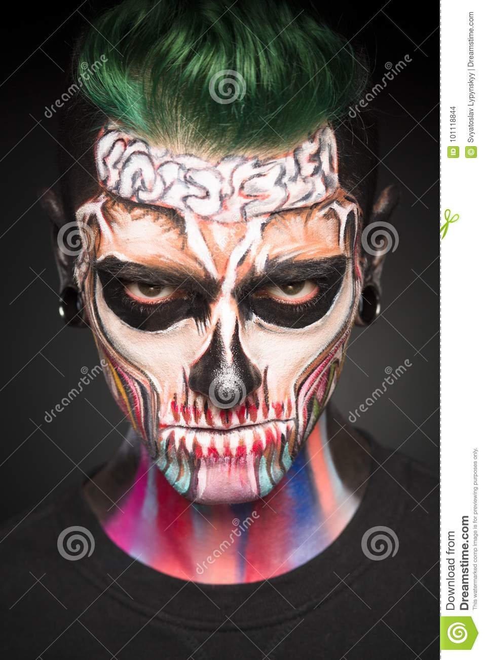 Halloween Make Up Men.View Of Man With Green Hair And Halloween Makeup Stock