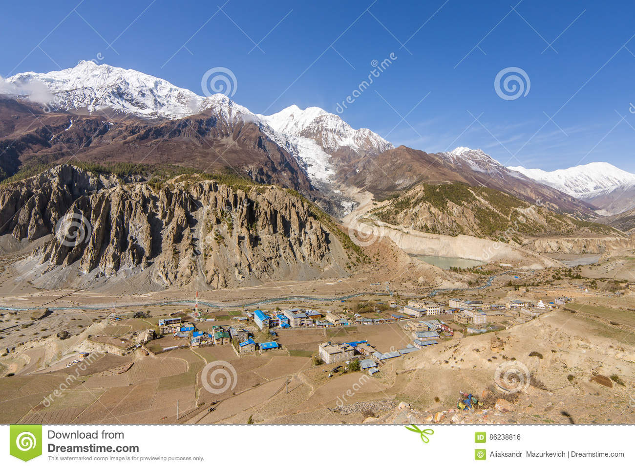 View of Manang valley and Annapurna mountains range