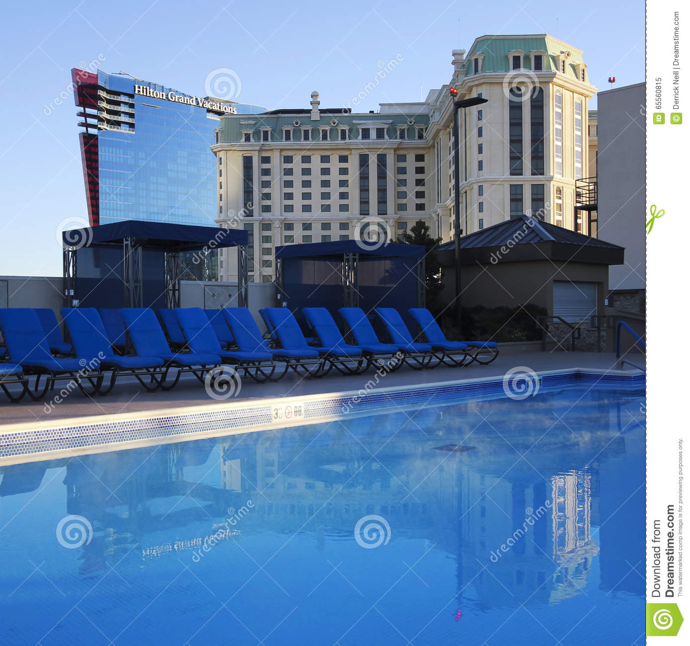 A view of the marriott and hilton from a rooftop pool for Pool show las vegas november