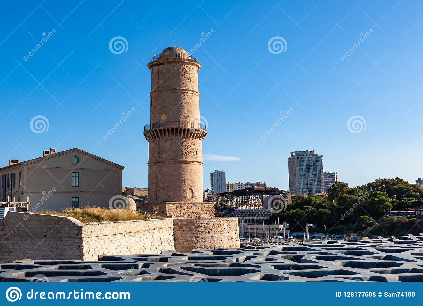 View of Marseille pier, Fort Saint Jean castle in south of Fran
