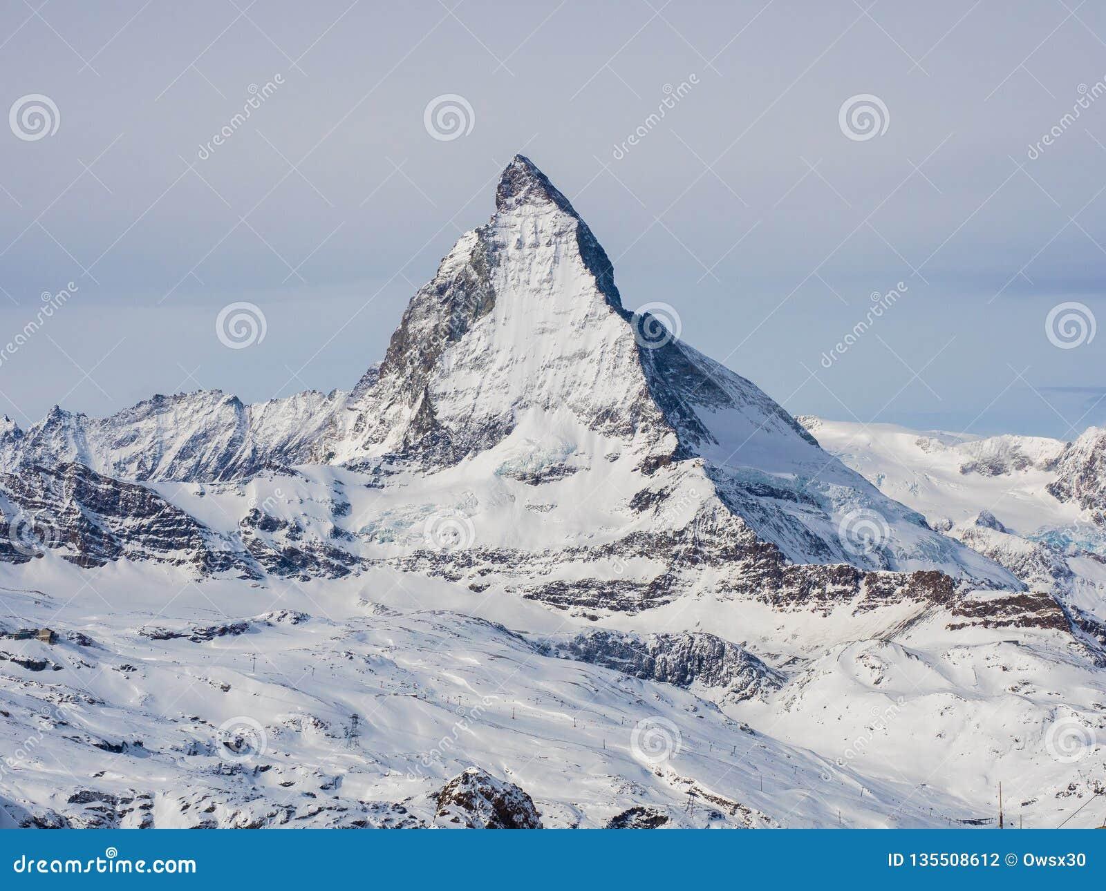 View of the Matterhorn from Gornergrat summit station. Swiss Alps, Valais, Switzerland