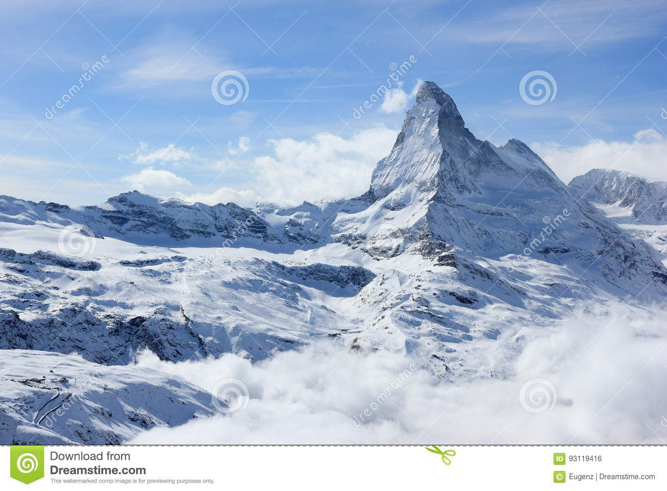 View of the Matterhorn from the Rothorn summit station. Swiss Alps, Valais, Switzerland.