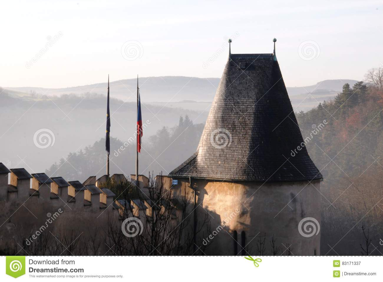 download view of the medieval castle roof finials mountains and hills of the czech republic prague - Roof Finials