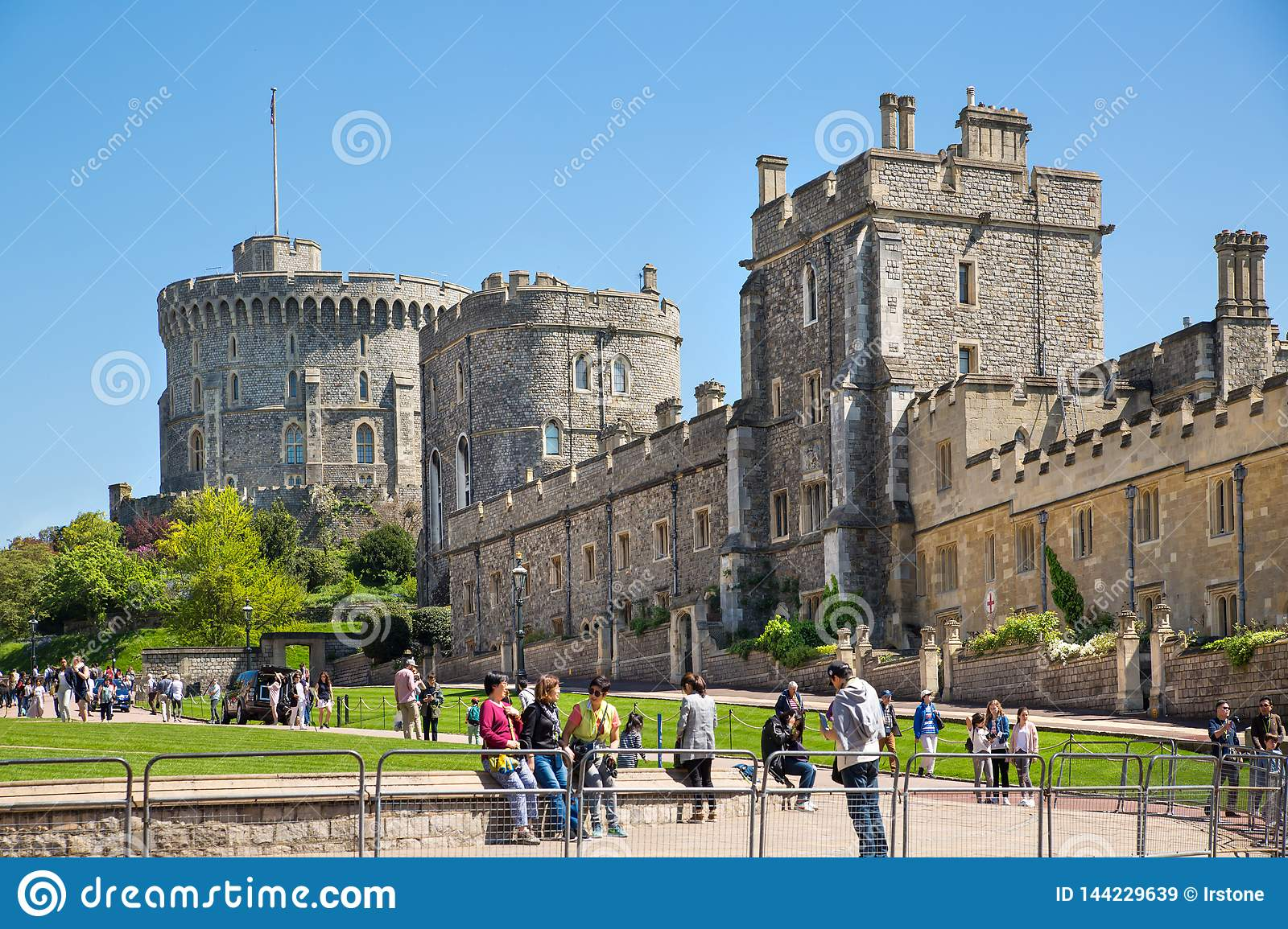 View at the medieval Windsor Castle, built 1066 by William the Conqueror. Official residence of Queen. Berkshire, England UK