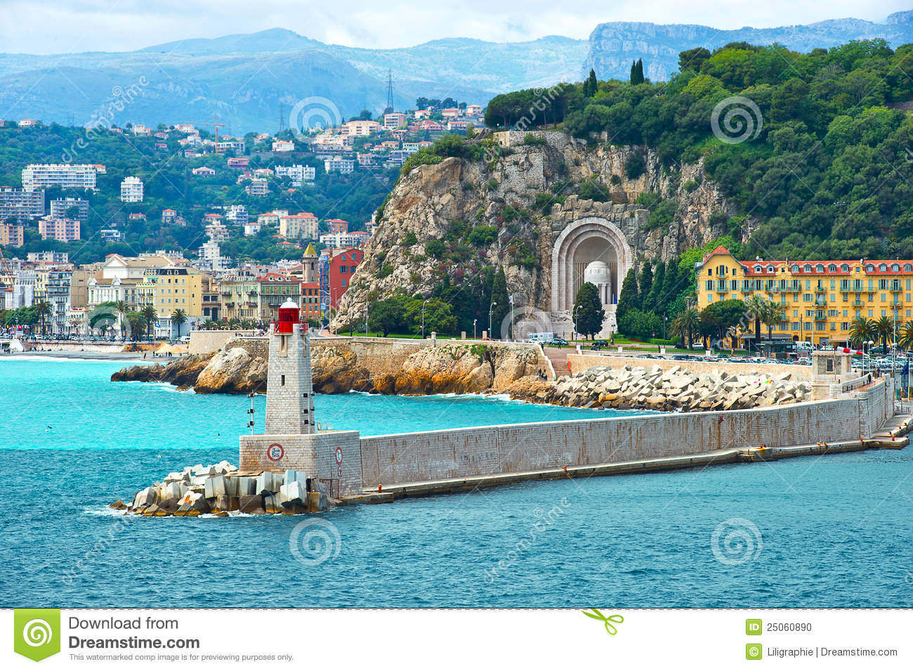 view of mediterranean resort nice france stock photo image of background panoramic 25060890. Black Bedroom Furniture Sets. Home Design Ideas