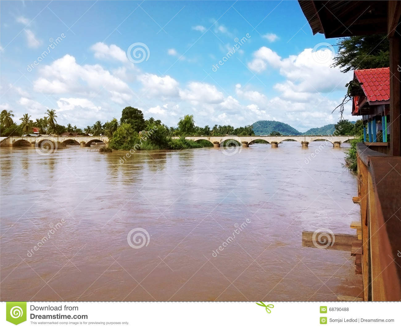View of Mekong River and bridge between Don Det and Don Khone