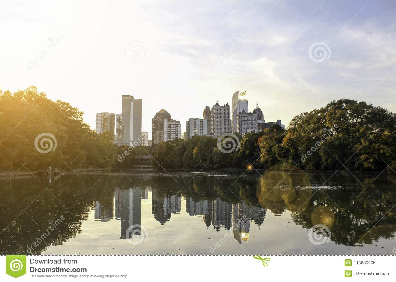 A Midtown Atlanta View From Piedmont Park Stock Image