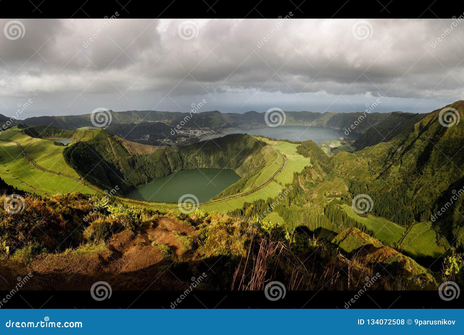 View from Miradouro da Boca do Inferno to Sete Citades, Azores