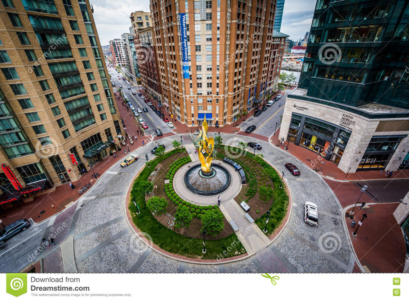 View Of Modern Buildings And Traffic Circle In Harbor East