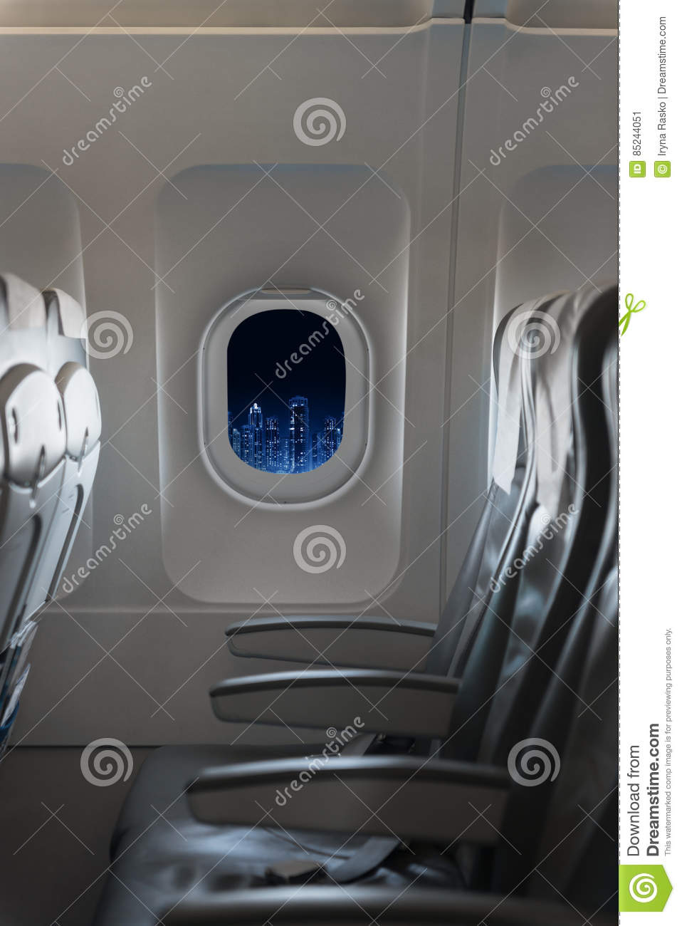 Tremendous View Of Modern City Skyline At Night In An Airplane Window Gmtry Best Dining Table And Chair Ideas Images Gmtryco