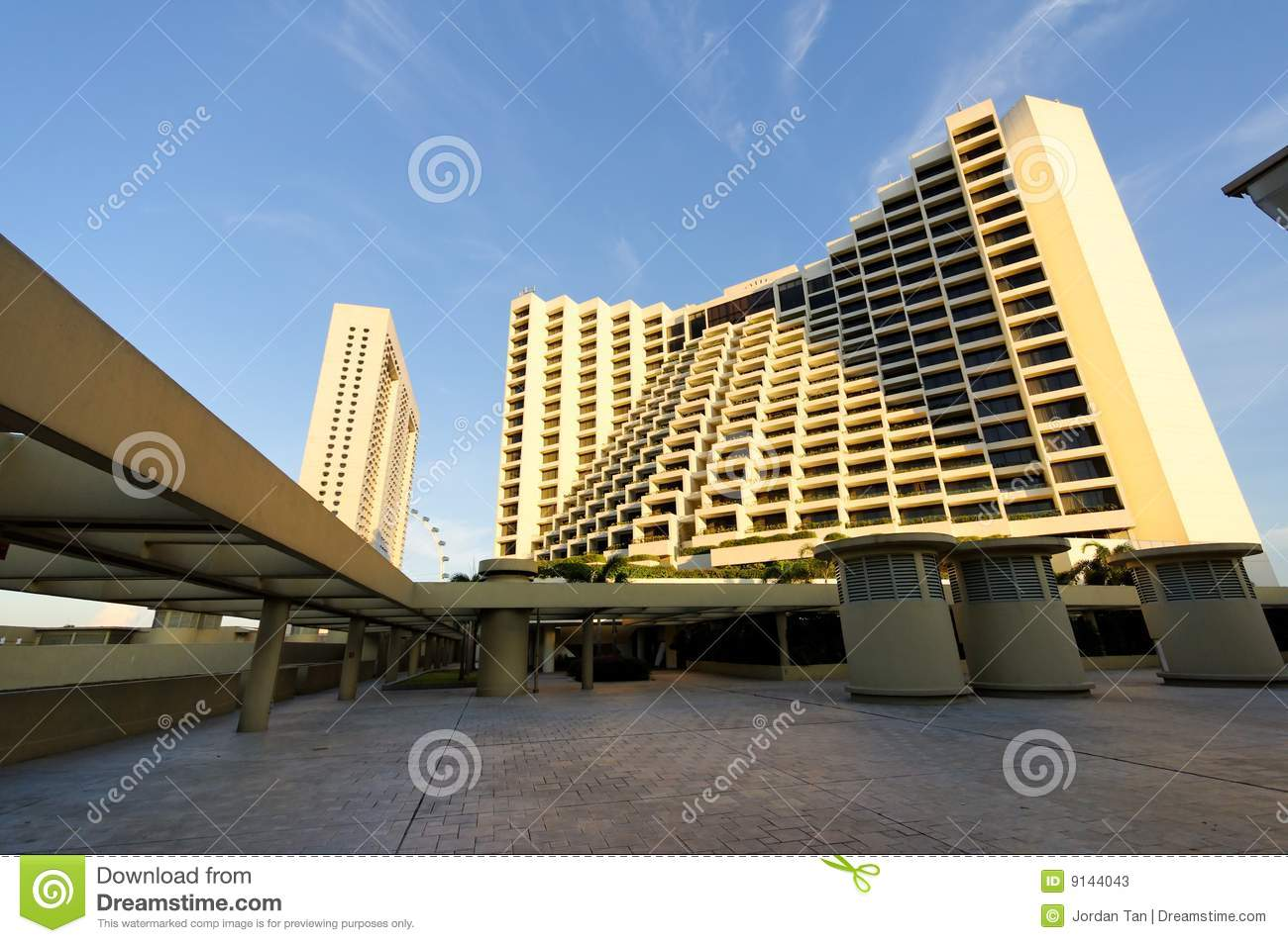 View Of Modern Hotel From Rooftop Stock Image Image Of Walkway Flyer 9144043