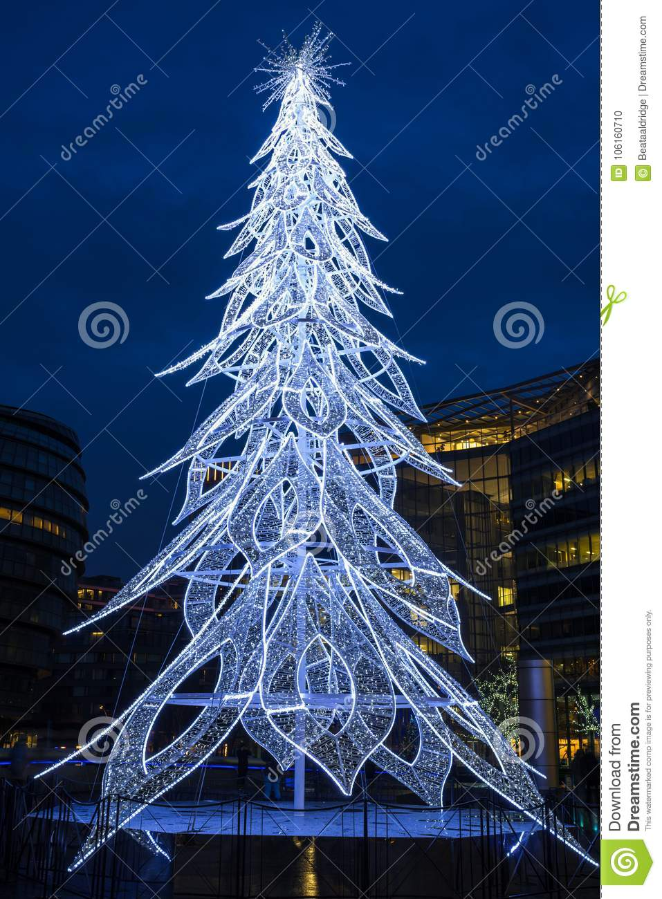 Contemporary Christmas Trees Uk.View Of A Modern Led Christmas Tree Standing Next To The