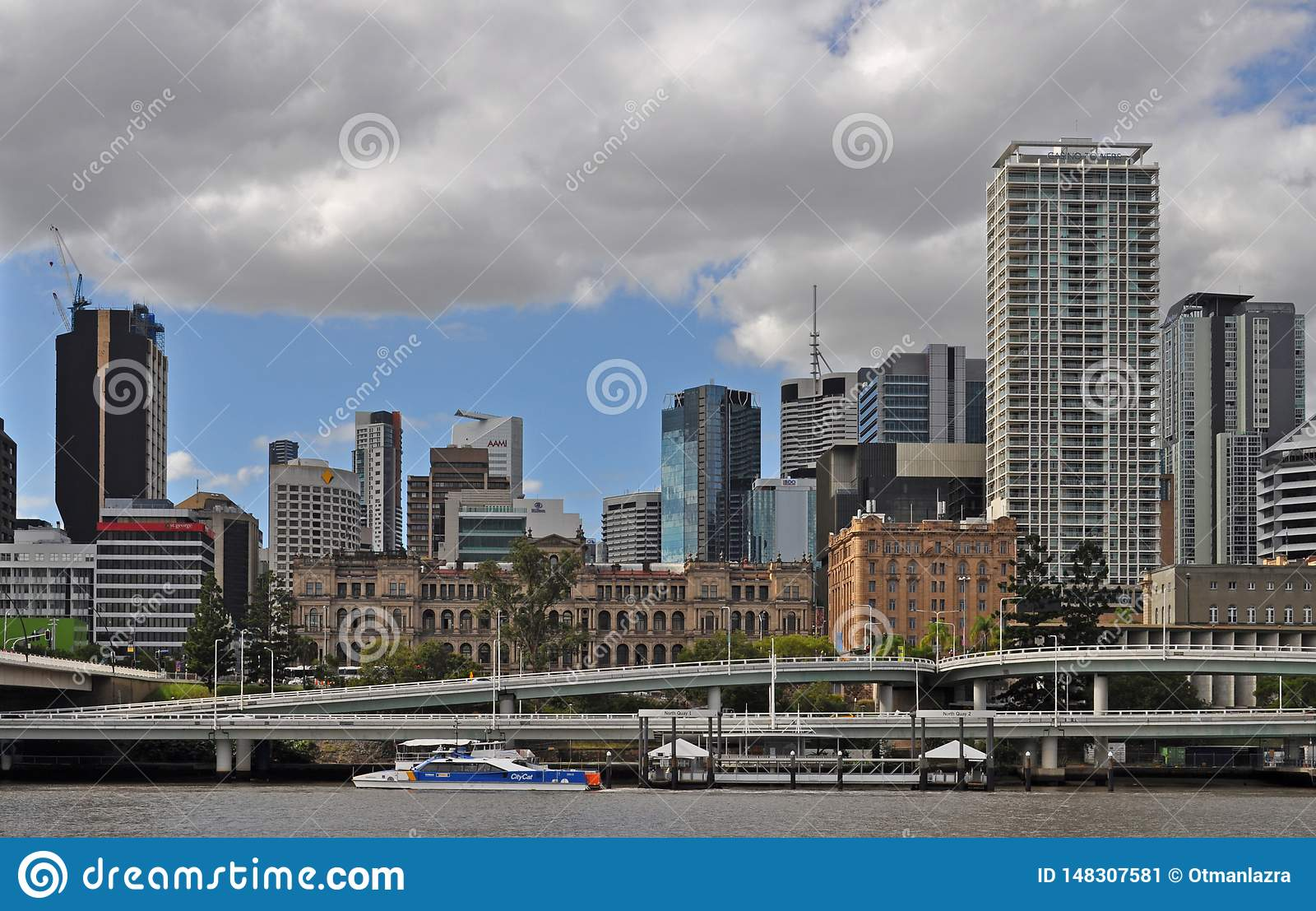 View of the modern skyline of downtown Brisbane
