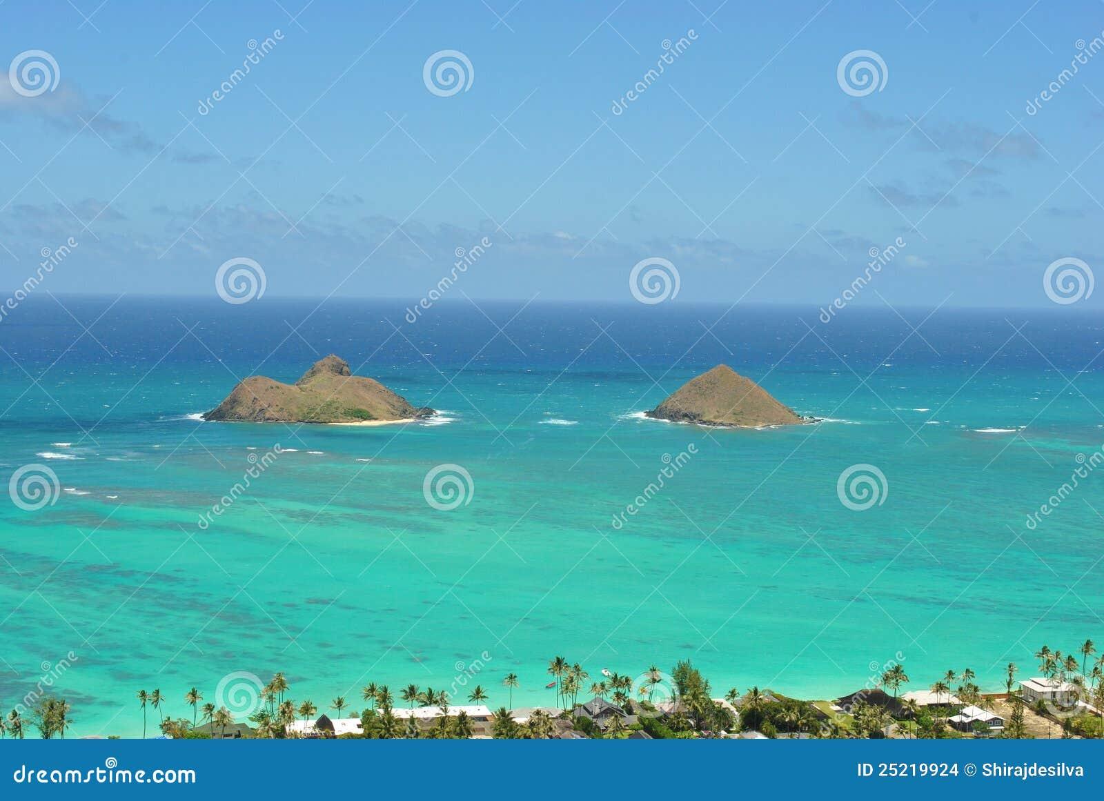 View Of Mokolua Islands Lanikai Beach Oahu Stock Photo