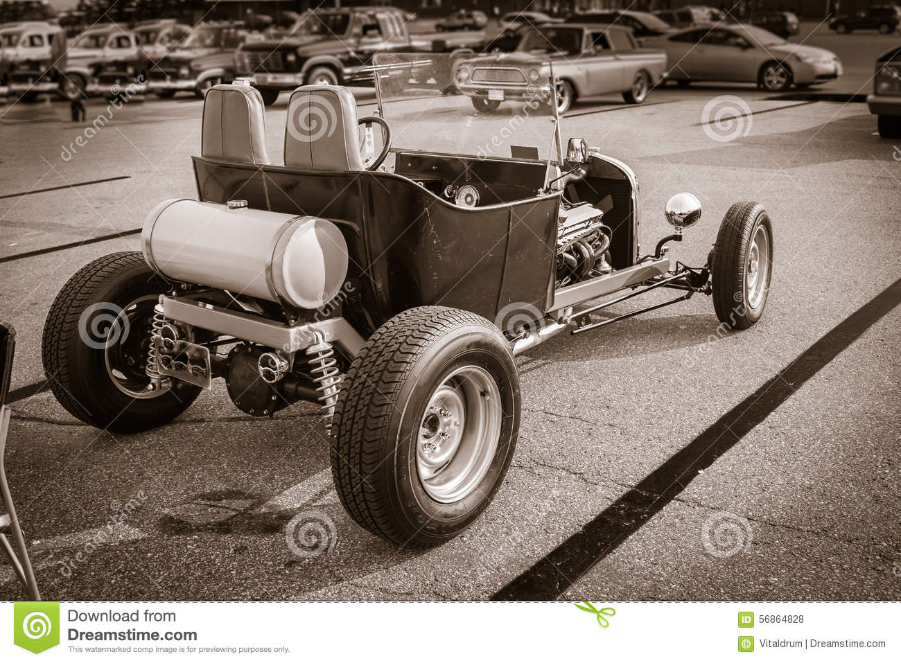 View Of Monochrome Old Classic Hot Rod Classic Retro Car Stock Photo ...