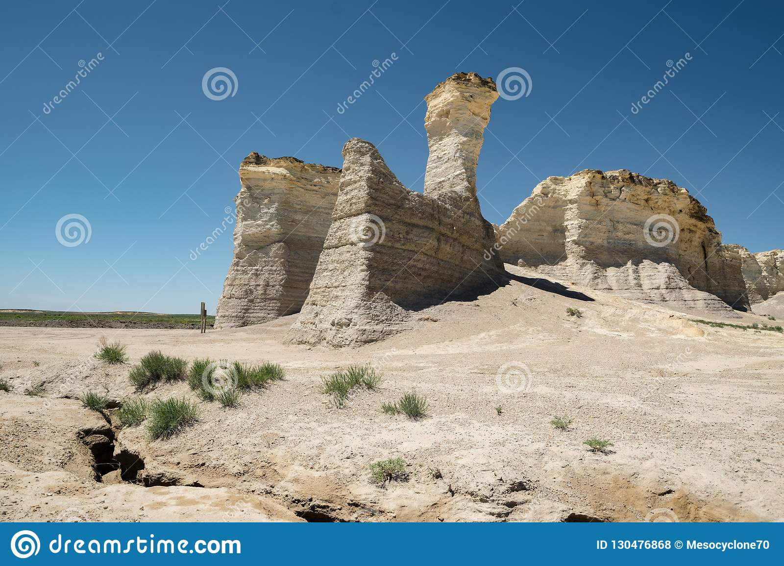 View Of Monument Rocks In Western Kansas Stock Photo - Image