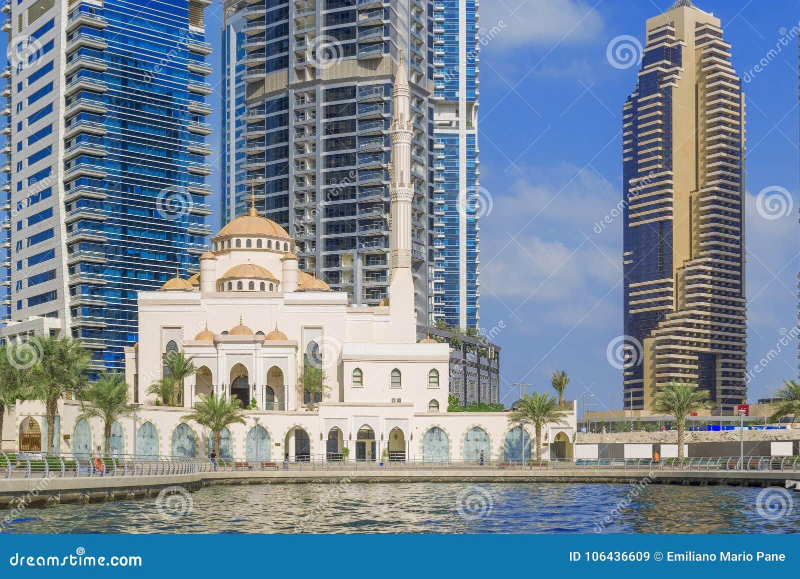 Dubai Marina Mosque Stock Image Image Of Middle