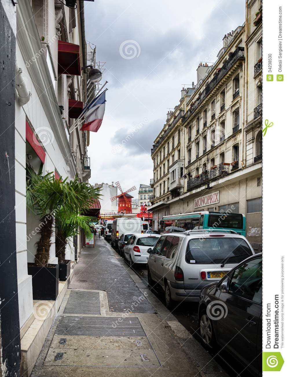 view of the moulin rouge in the street editorial image image 34238530. Black Bedroom Furniture Sets. Home Design Ideas