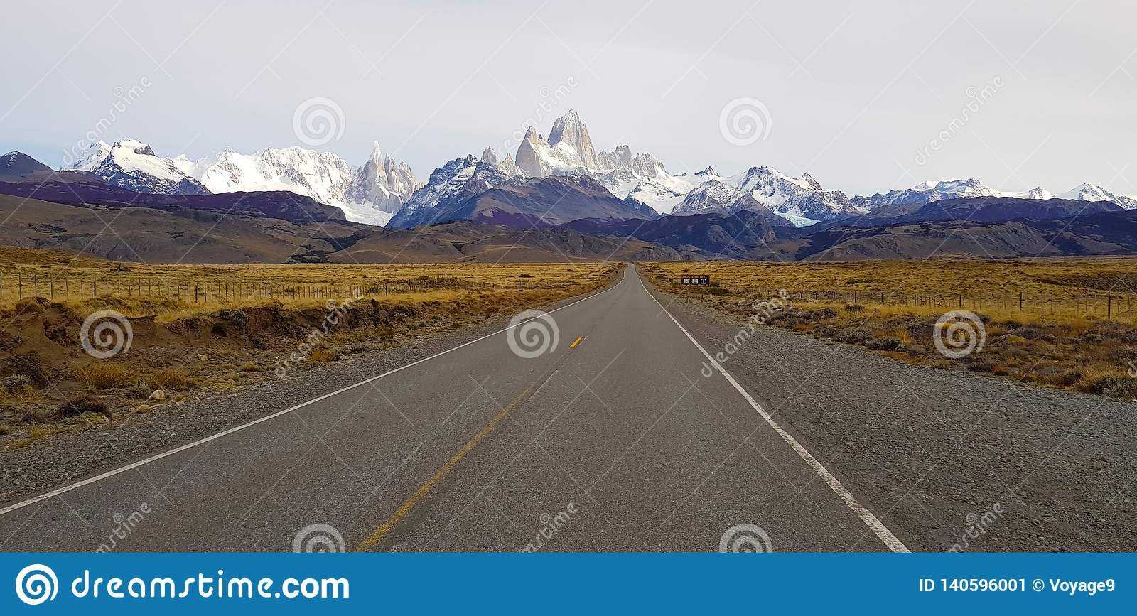 View of Mount Fitz Roy and Cerro Torre along the road to El Chalten, Patagonia, Argentina