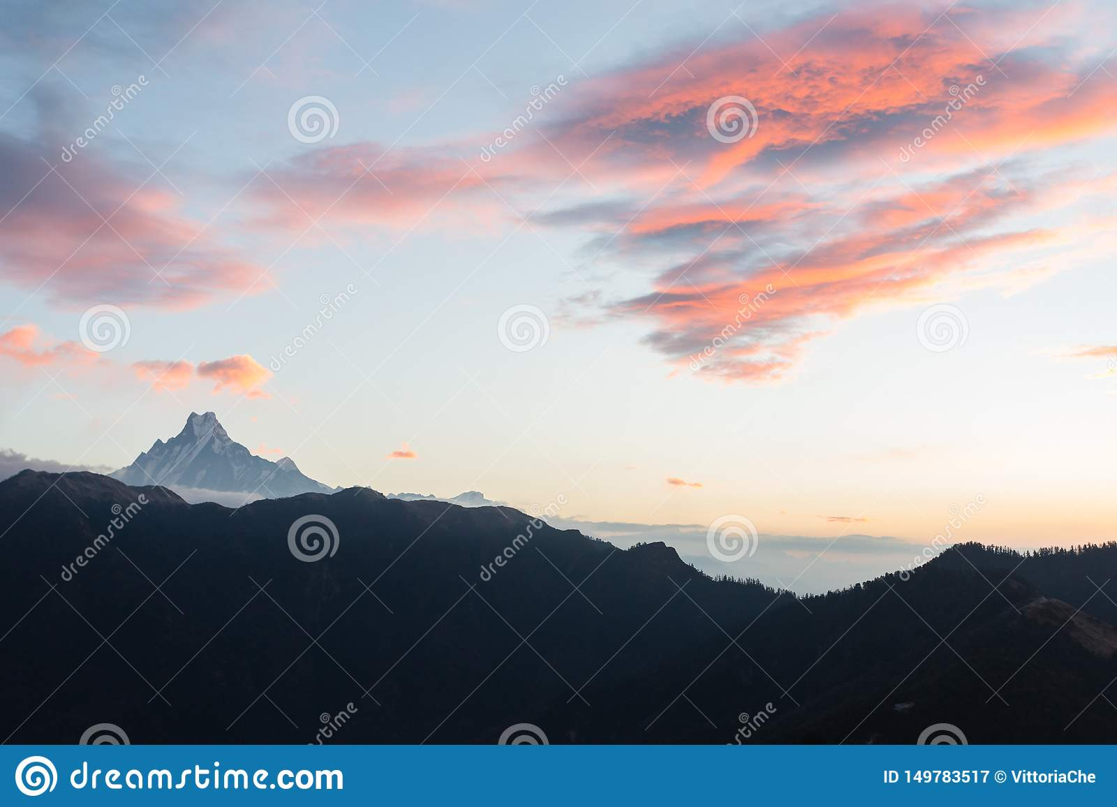 View of Mount Machapuchare from Nepali meaning `fishtail` from Poon Hill 3210 m on sunrise, Annapurna Conservation Area