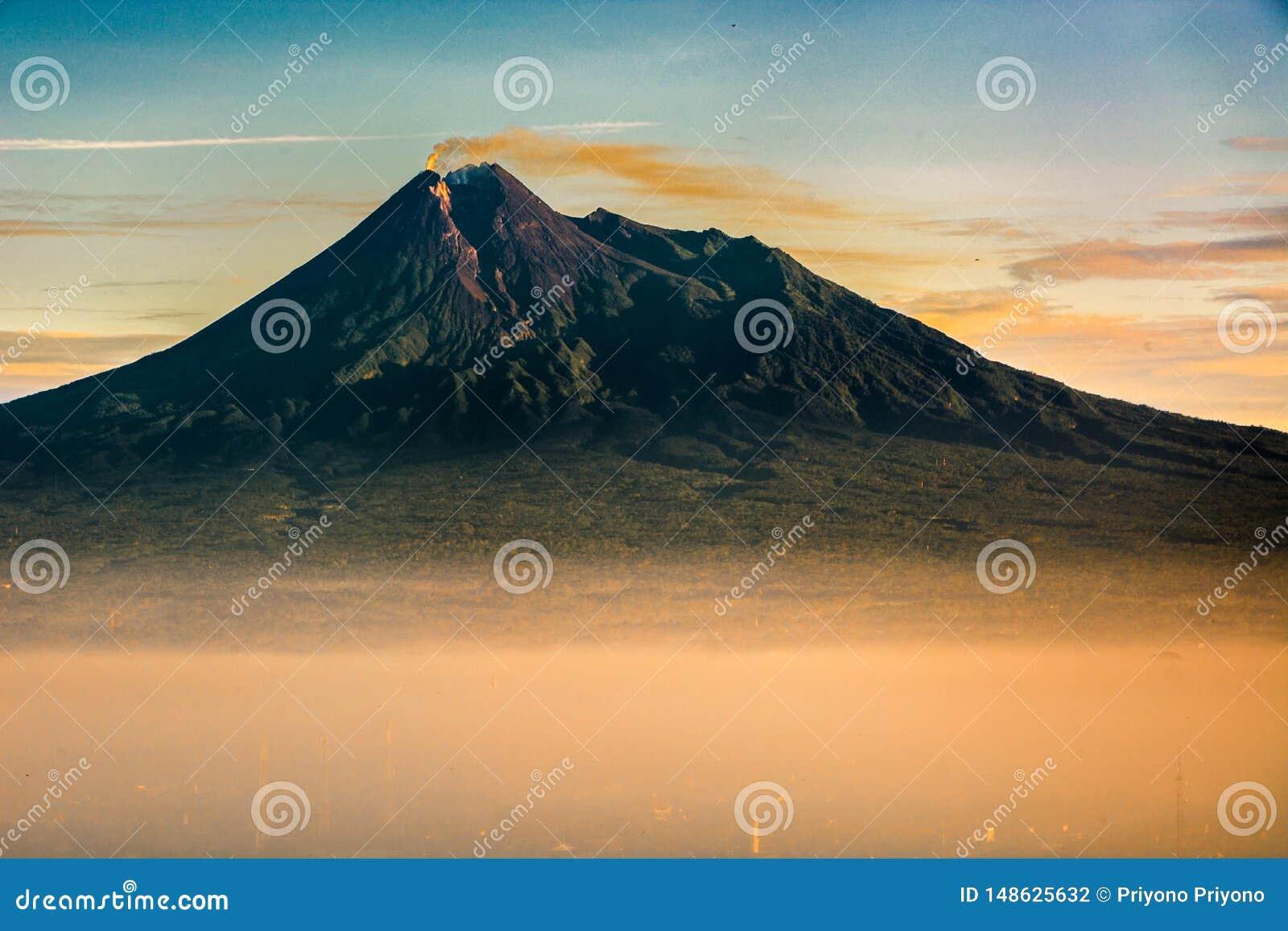 View mount merapi, java, indonesia