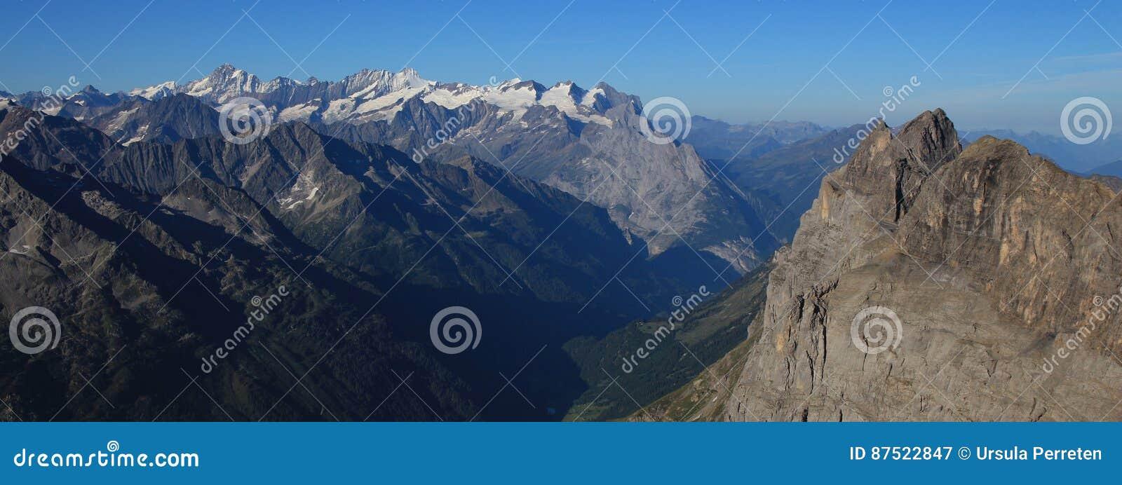 View from mount Titlis towards Innertkirchen