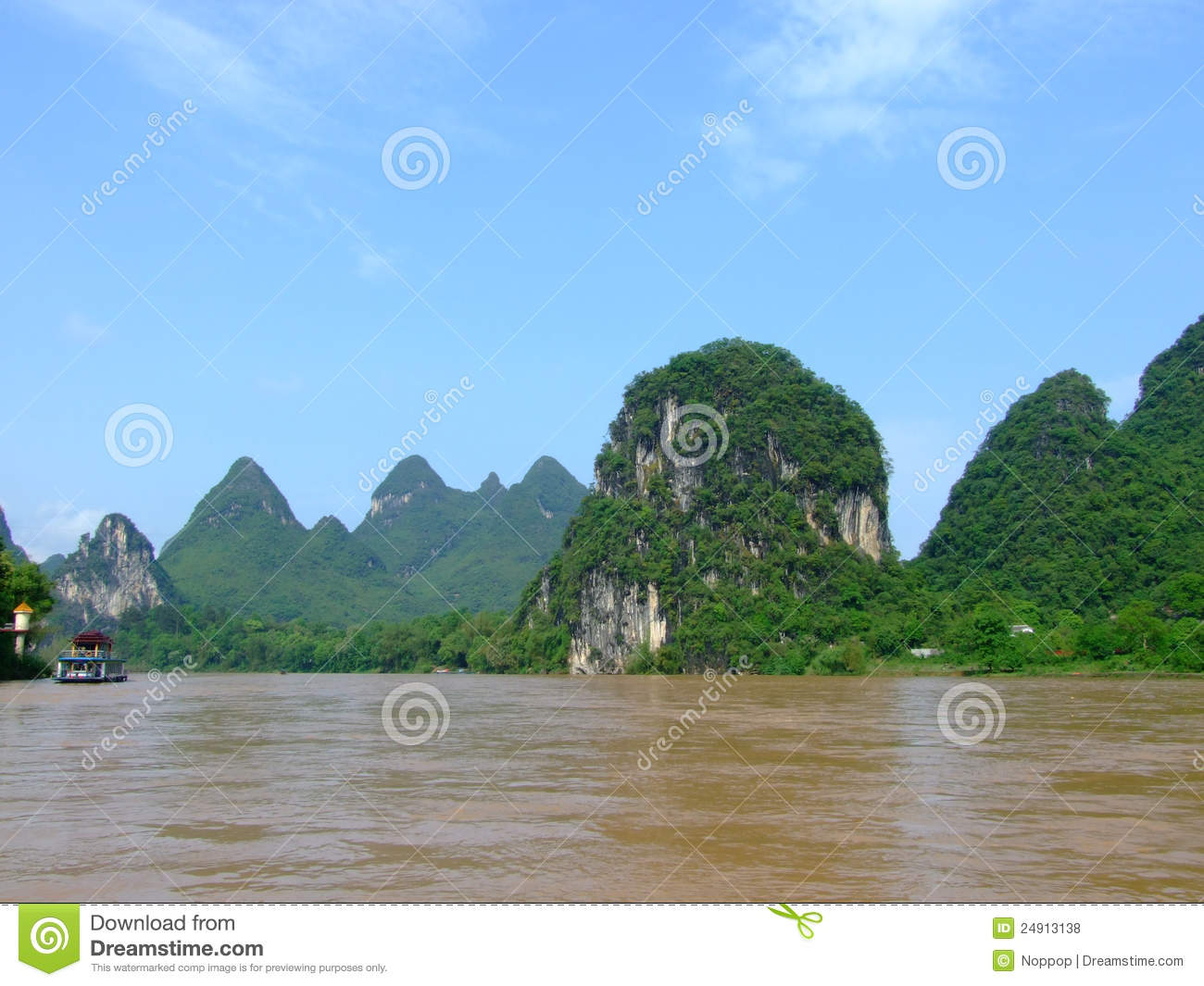 View of Mountain and Lijiang River