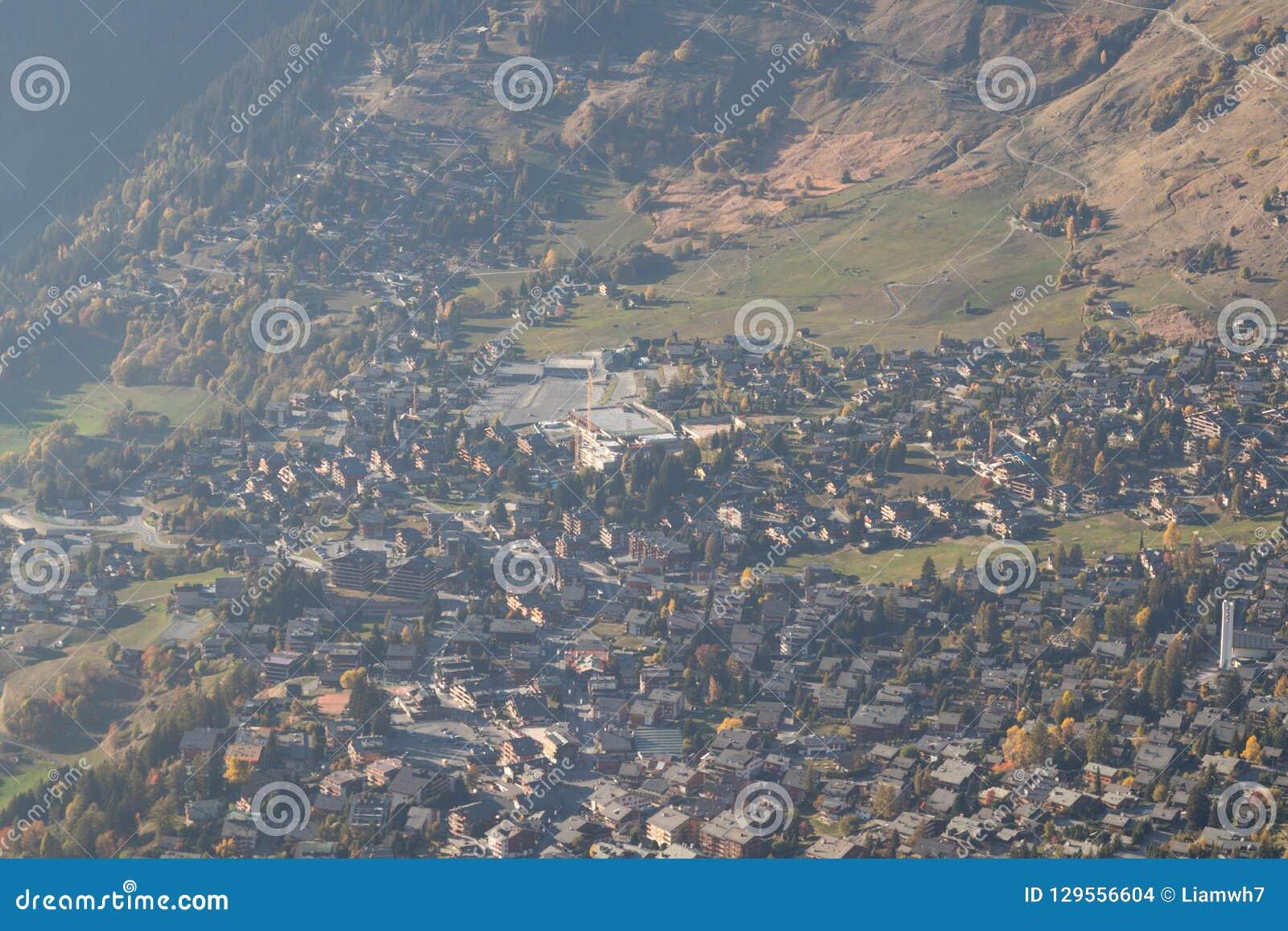 Verbier ski ressort in Switzerland aerial view season