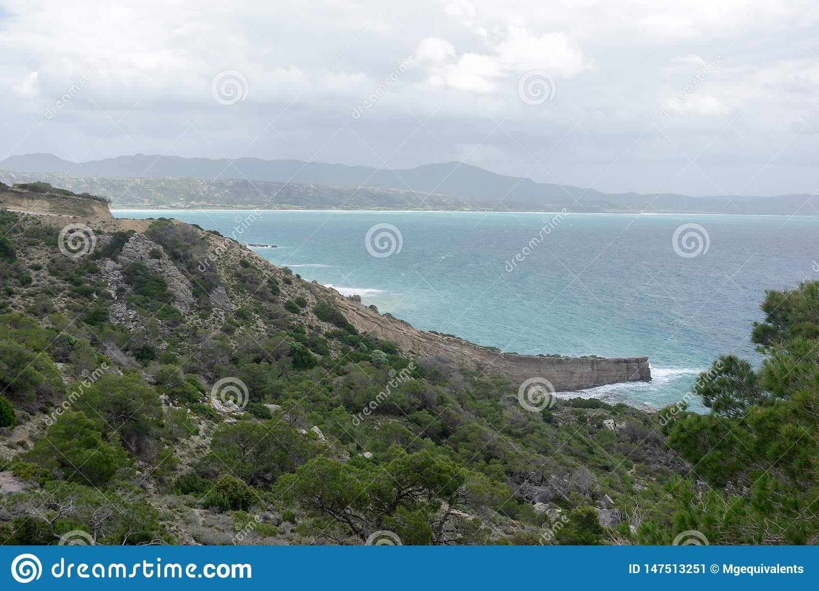 View from the mountains to the Aegean Sea on the island of Rhodes