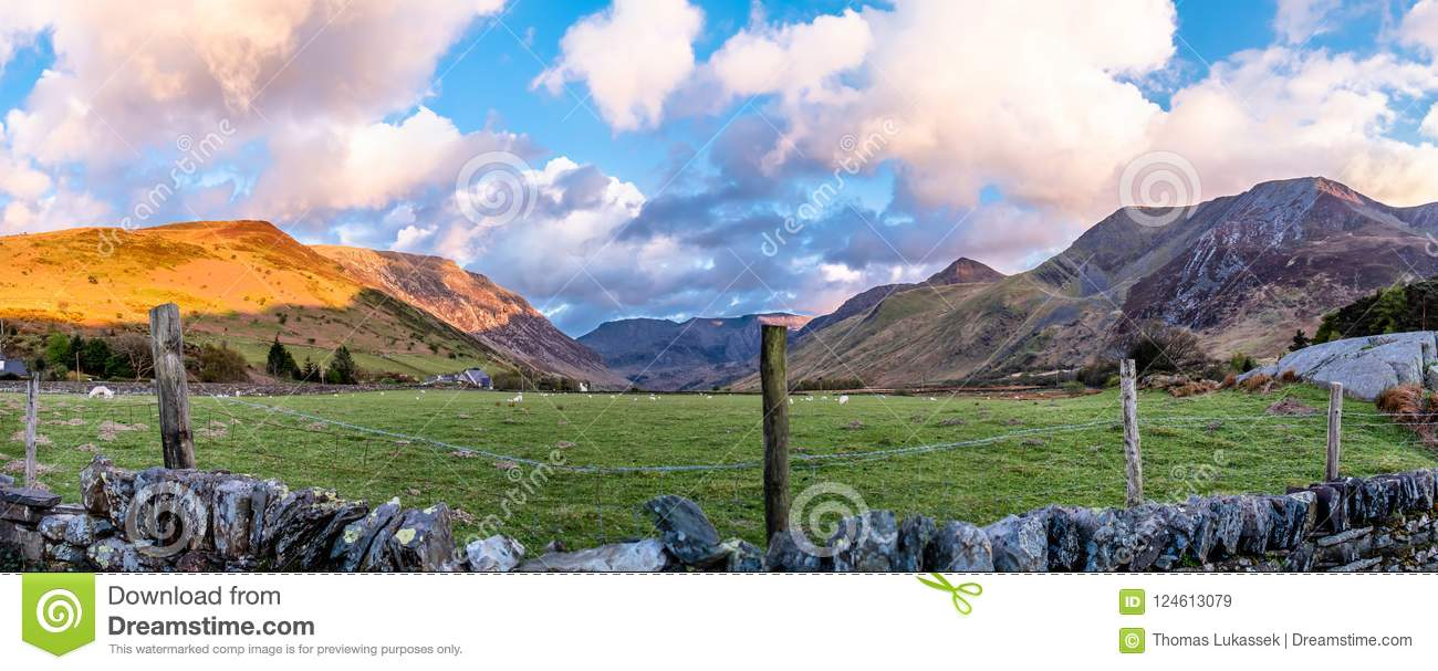 View of Nant Ffrancon Pass at Snowdonia National Park,with mount Tryfan in background Gwynedd, Wales, United Kingdom