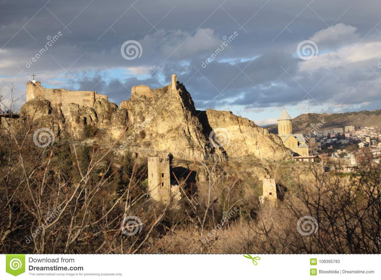 The View Of The Narkala Fortress In Tbilisi City In Winter From ...