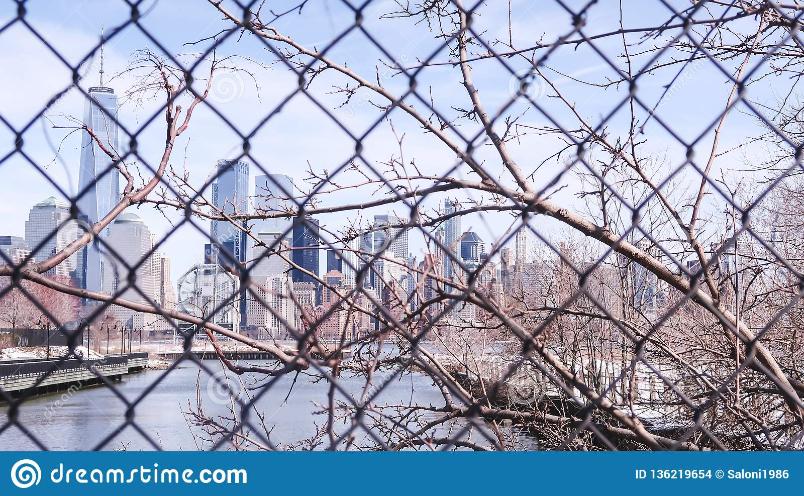 View Of New York City Cityscape Lower Manhattan From The Jersey