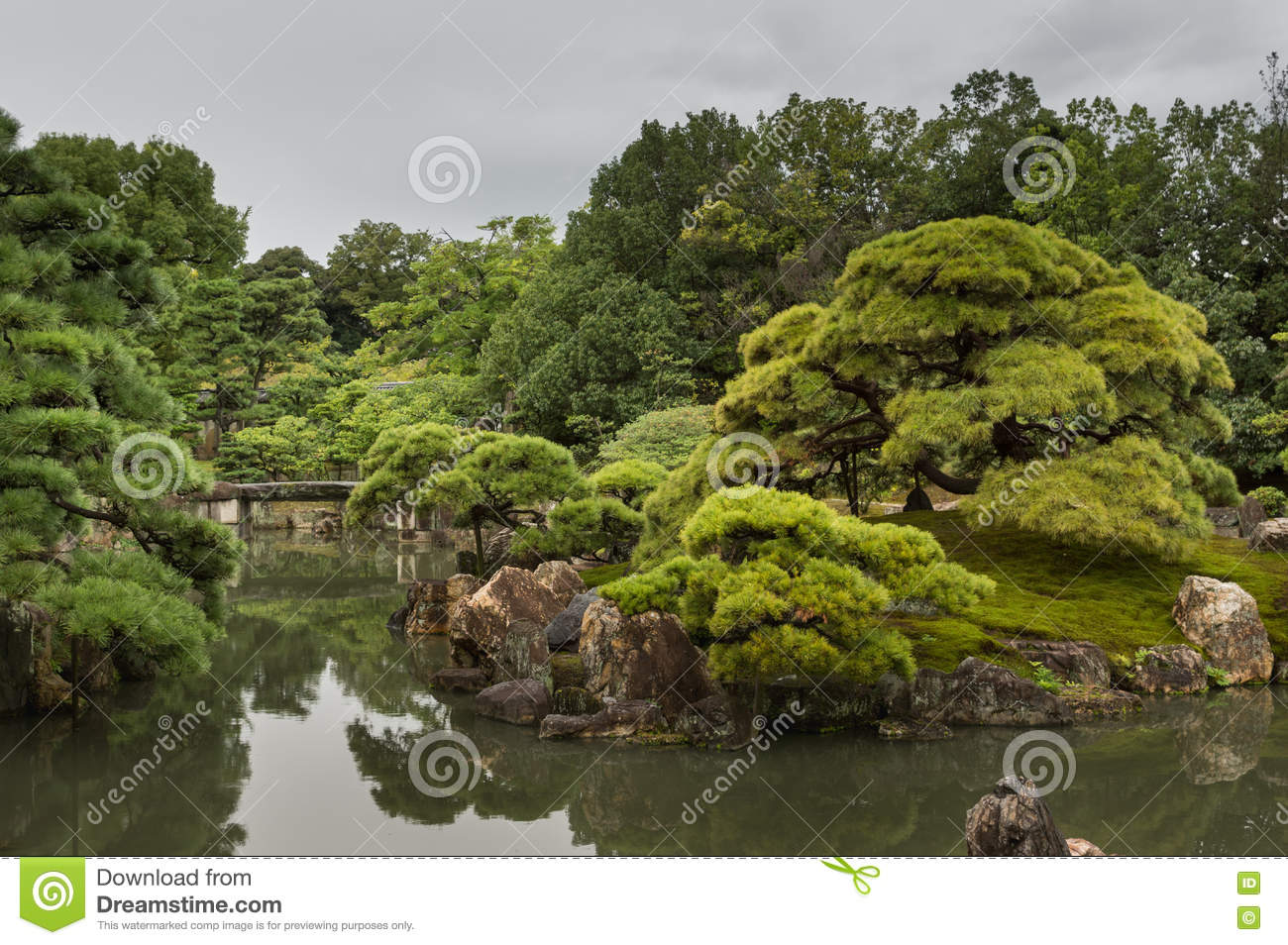 View of Ninomaru garden at Nijo Castle with bridge.