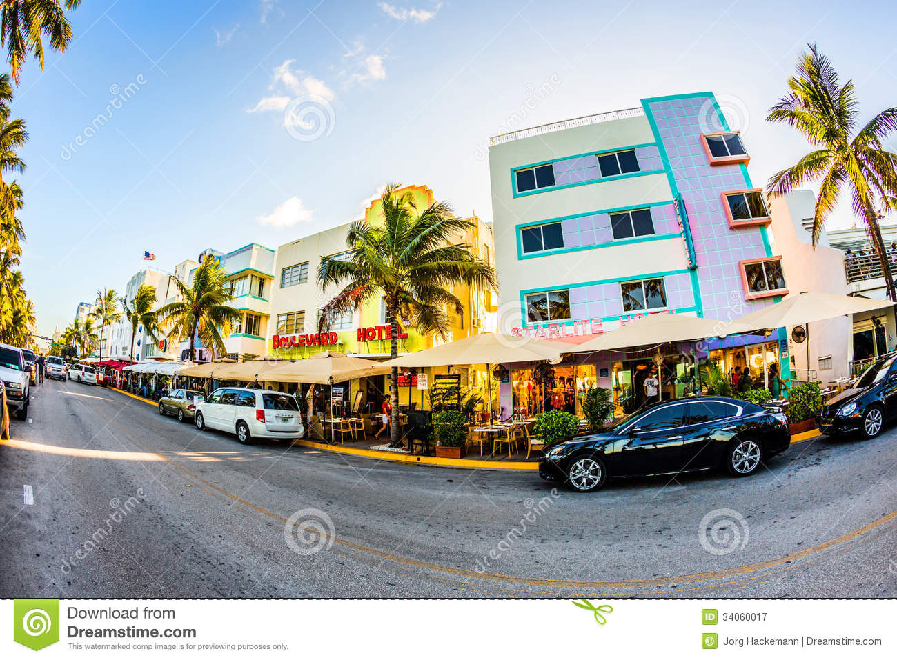 - July 31: view at the art deco facade of Boulevard hotel at Ocean ...