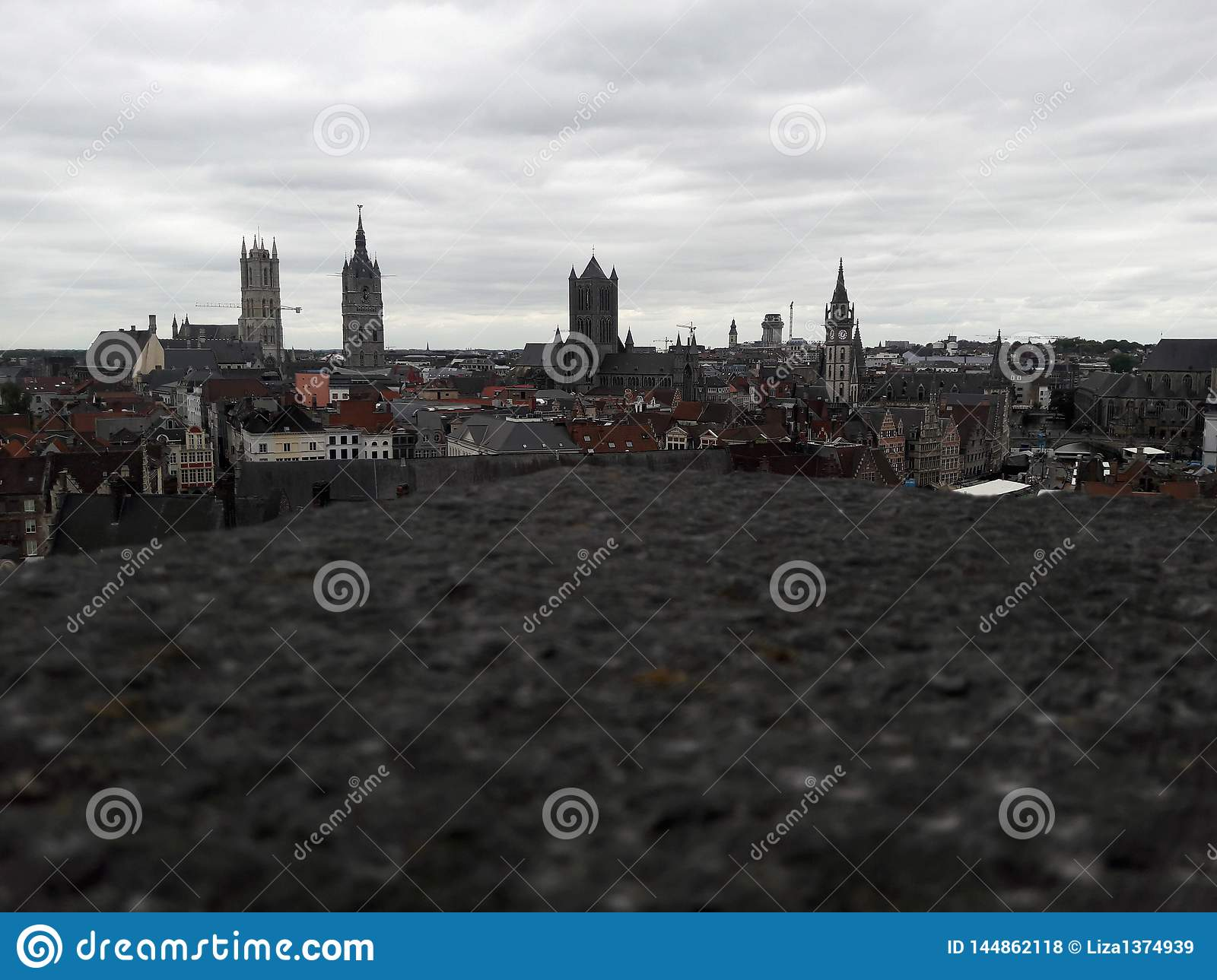 View of the old city from the roof of the Ghent castle. Panorama