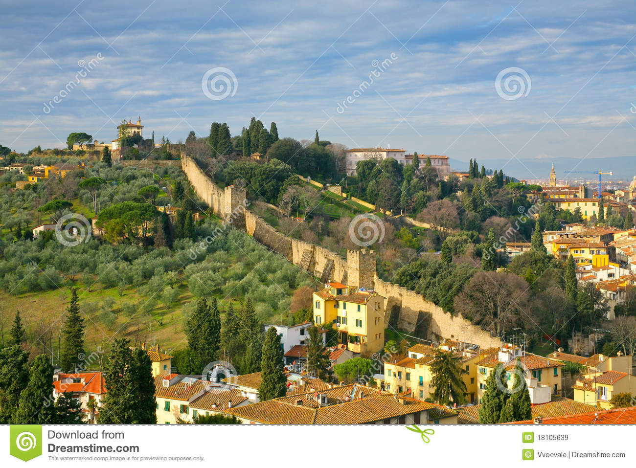 View On Old City Wall Tuscan Florence Stock Image