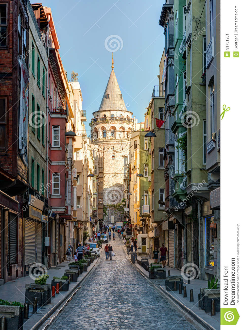 View Of Old Narrow Street With The Galata Tower, Istanbul ...