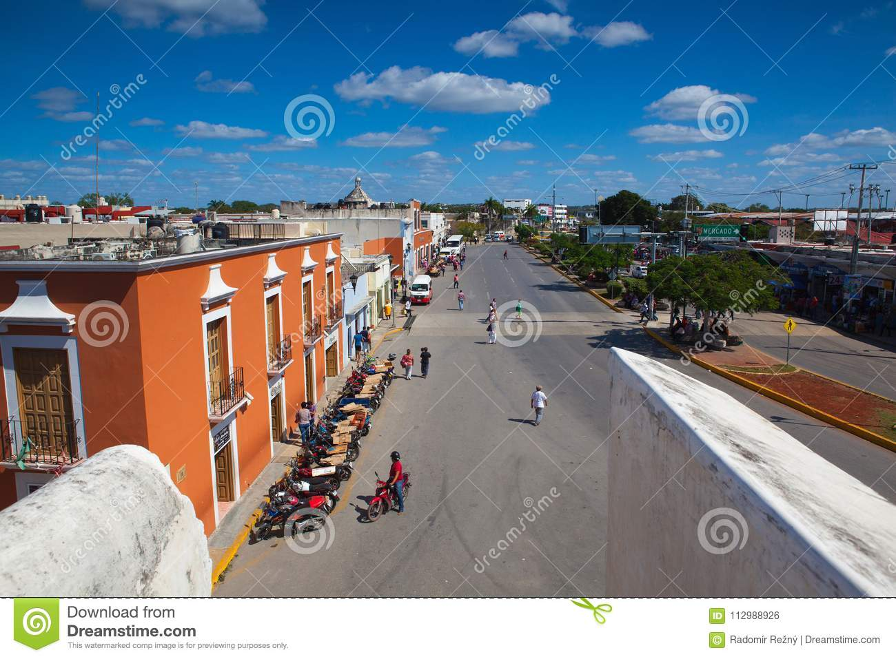 View from old walls in Campeche, Mexico.
