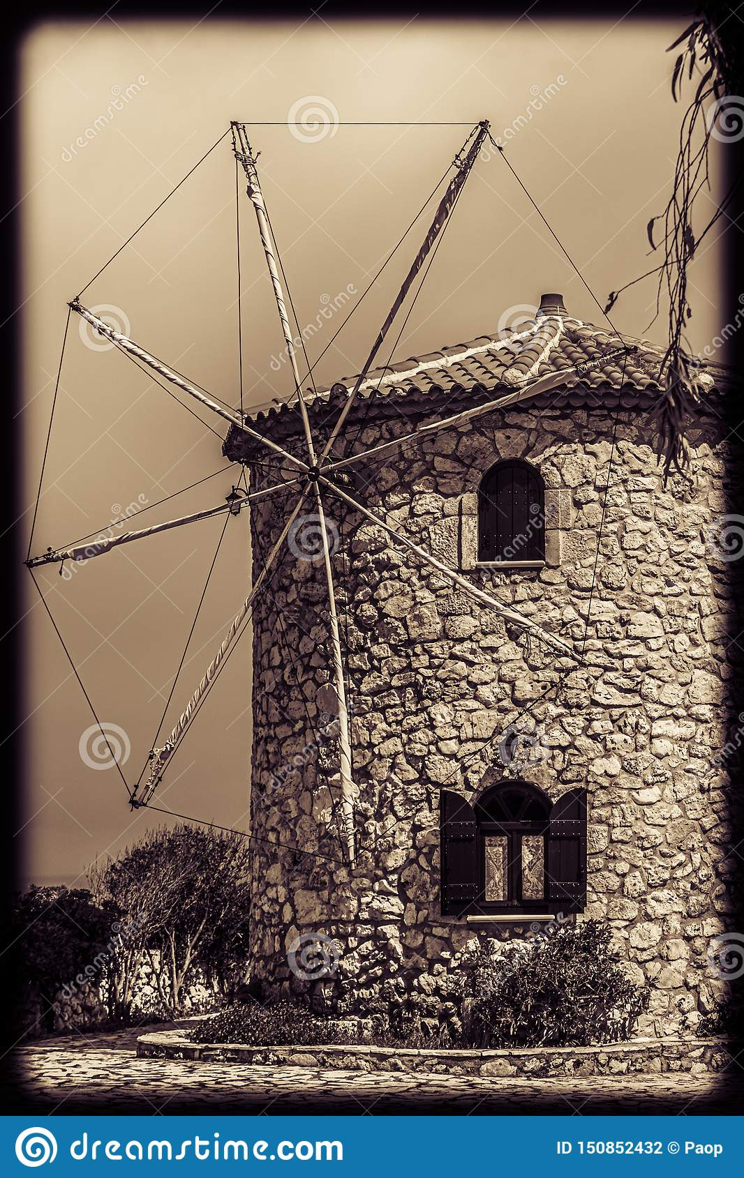 View of the old windmill in Skinari Cape