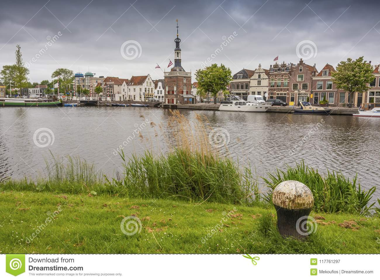 View from the opposite bank of the channel of the city of Alkmaar. netherlands holland