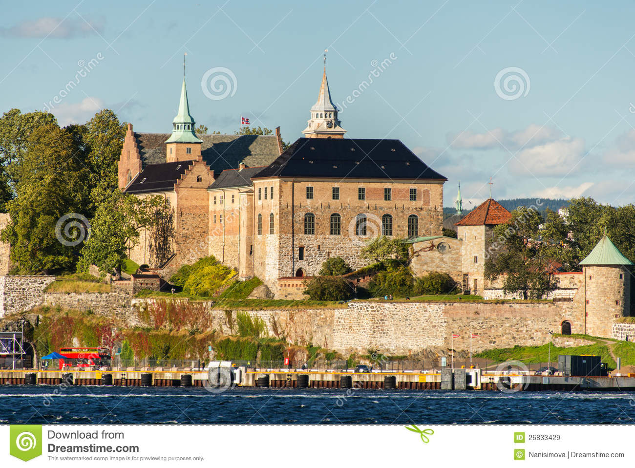 View on Oslo Fjord harbor and Akershus Fortress